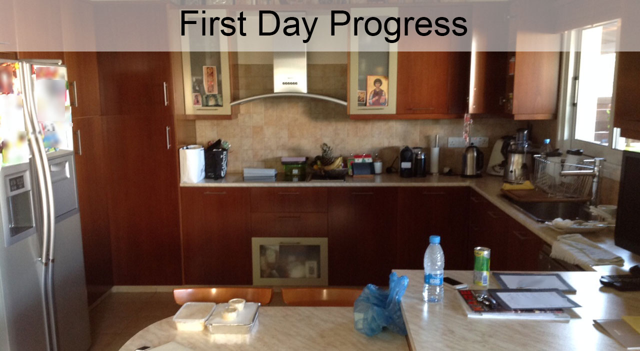 Day 1: Removal of Kitchen Cabinets, Kitchen Base, Ceramic Tiles, and Electric Sockets