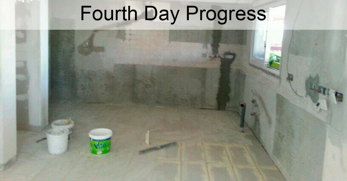 Day 4: All Ceramic Tiles Installed, Joints Filled With Grout, and Plasterboards Plastered