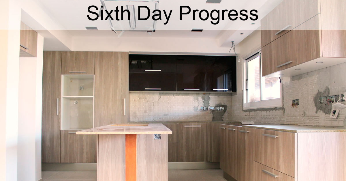 Day 6: Kitchen Cabinets Fully Installed And Starting With Wall Painting
